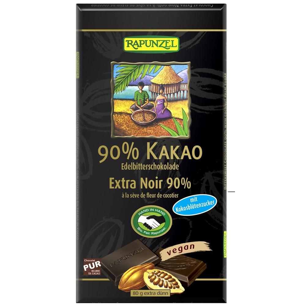 Ciocolata amaruie 90% cacao si zahar de cocos VEGANA