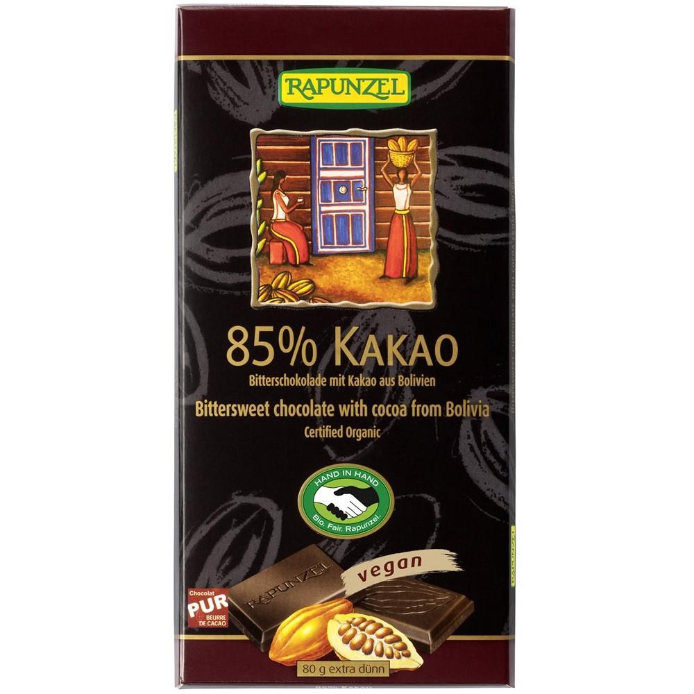 Ciocolata bio amăruie 85% cacao HIH